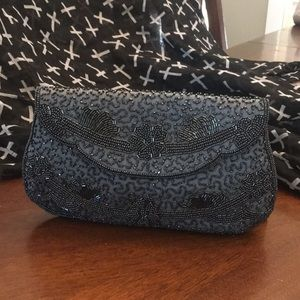 Handbags - Vintage Sharonee beaded clutch. 1950's.  Blue